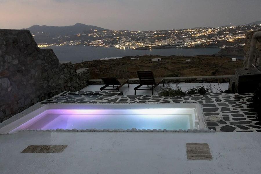 Mykonos Syni Villa Pool By Night